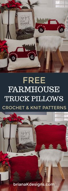 With the Christmas on us, home decor is best with Custom Farmhouse Truck Pillowcases. Design yours tFarmhouse Truck Knit Pillow - Free Pattern - Briana K Designstrendy diy christmas decoracion for outside free patternWith the holiday season upon us home d Christmas Cushions, Christmas Pillow, Christmas Diy, Christmas Vacation, Crochet Christmas Blanket, Knitted Christmas Decorations, Christmas Afghan, Christmas Quilting, Blanket Crochet