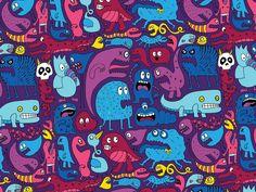 Mo' Monsters Mo' Problems Art Print by Chris Piascik Art Prints, Iphone 6 Wallpaper, Illustration, Doodle Art, Design Elements, Art, Printing On Fabric, Background Patterns, Botanical Wallpaper
