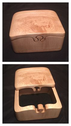This is a custom made jewelry/stash box handcrafted by me. It is made from a solid block of maple wood with soft black flocking in the bottom to protect your valuables. This box measures approximately 5 wide X 3 tall X 4 deep. Woodworking Box, Popular Woodworking, Woodworking Videos, Woodworking Furniture, Woodworking Projects, Japanese Woodworking, Woodworking Basics, Bandsaw Projects, Wood Projects