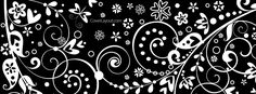Black and White Hearts and Butterflies Facebook Cover CoverLayout.com