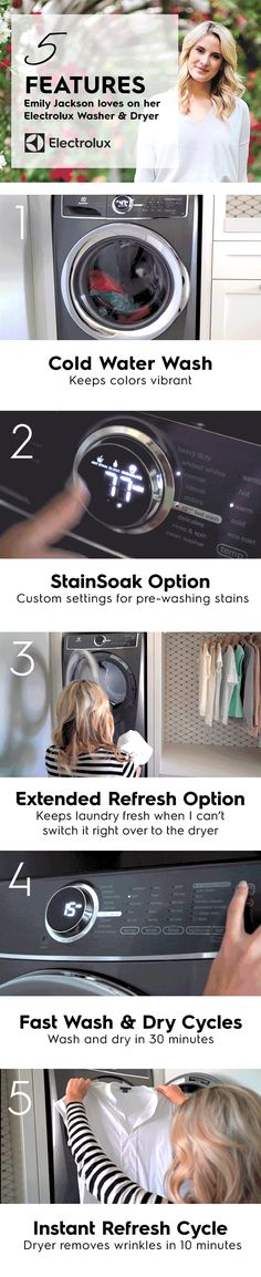 Fashion blogger @emilyjacks walks us through her five favorite features of the Electrolux washer and dryer that help maintain the quality of her and her family's clothing.