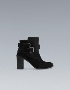 Zara Black High Heel Ankle Boots with Buckles