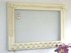 Jewelry Holder Earring Holder Large Frame Wall Hanging Jersey Cream Crystal Knobs Earrings Necklaces Knob