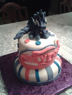 My 4th cake this week. A My Little Pony cake. The pony figurine is made entirely of fondant.
