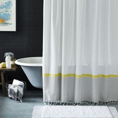 west elm's window curtains bring affordable style to the room. Find drapes and window hardware at west elm. Rental Bathroom, Bathroom Shower Curtains, Fabric Shower Curtains, Small Bathroom, Bathroom Ideas, Lake Bathroom, Bathroom Updates, Bath Shower, Washroom