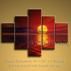 Pentaptych Contemporary Wall Art Seascape Painting Moon Sceneon Canvas. In Stock $165 from OilPaintingShops.com @Bo Yi Gallery/ ops4010