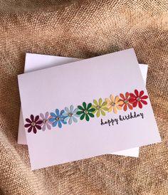 Simple Birthday Cards, Homemade Birthday Cards, Birthday Cards For Women, Happy Birthday Cards Handmade, Homemade Greeting Cards, Birthday Cards To Make, Happy Birthday Greeting Cards, Flower Birthday Cards, Birthday Greetings