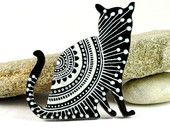 Black and White Cat brooch - hand painted wooden brooch - white lace design