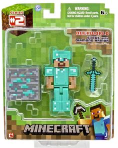 From the hit video game, Minecraft, bring home the Diamond Armor Steve action figure pack. This action figure pack features a articulated Diamond Steve Minecraft Hama, Minecraft Gifts, Cool Minecraft, Minecraft Party, Steve Minecraft, Mojang Minecraft, Figurines D'action, Cool Toys For Boys, Toys For Girls