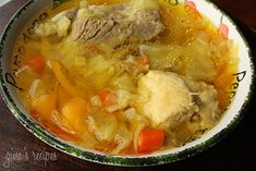 Cabbage Soup with Chicken and Pork - This hearty soup with lots of vegetables and meat is a simple one pot meal.
