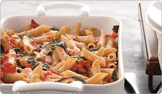 Easy Baked Tomato Pasta w/ Spinach.  Healthier than baked ziti.