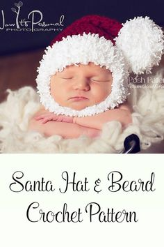 Crochet Pattern - This adorable crochet santa hat and beard pattern is perfect for any little boy or guy! Includes all sizes. What a fun holiday accessory! By Posh Patterns.
