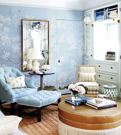 Mark Sikes's bedroom- another view blue tufted chair and ottoman chinoisserie Chinoiserie Wallpaper, Chinoiserie Chic, Beautiful Interiors, Beautiful Homes, Simply Beautiful, Ivy House, Living Spaces, Living Room, Interior Decorating
