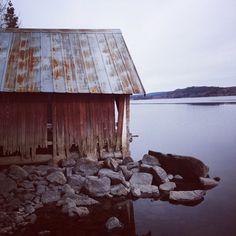 A boat house by the lake Fryken in Värmland, Sweden