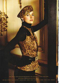 Ralph Lauren leopard print beret and vest ~ F/W 2008