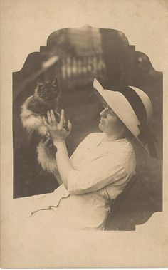 Edwardian cat and woman-vintage photo