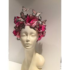 Butterfly Headpiece Butterfly Headdress-Derby-Spring Fascinator-Derby... ($180) ❤ liked on Polyvore featuring accessories, hair accessories, blue, head wrap headbands, rose hair accessories, butterfly hair accessories, feather fascinators and rose headbands