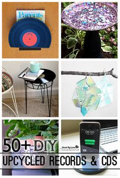 50 Plus Best DIY Upcycle Vinyl Records and CD projects to make @savedbyloves