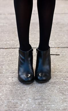 How I pair ankle booties with tights.