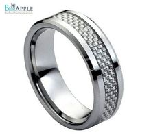 His Hers 8mm Tungsten Carbide with Grey Carbon Fiber Inlay Low Beveled Edge Wedding Engagement Band Ring