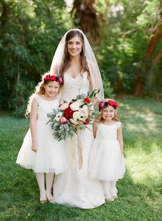 Sweet flower girls: http://www.stylemepretty.com/arizona-weddings/phoenix/2015/05/21/rustic-elegant-wedding-at-the-secret-garden/ | Photography: Brittany Mahood - http://www.brittanymahood.com/