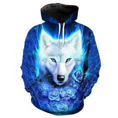 TAKUSHI HF Unisex Fashion Galaxy Digital Printed Pullover Hoodies Hooded Sweatshirts for Sport and Party Hoodie Sweatshirts, Printed Sweatshirts, Wolf Hoodie, Wolf T Shirt, Sweat Shirt, Sweat Cool, Ärmelloser Pullover, Hip Hop Outfits, Church Outfits