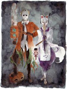 hetalia america and japan Halloween