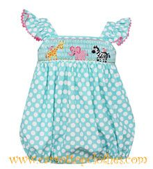 Claire & Charlie smocked zoo bubble (also available in a bishop dress)