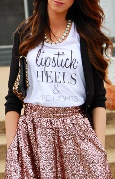 Lipstick, Heels & Late Nights tank from the whole outfit is cute Looks Style, Style Me, Mode Statements, Look Fashion, Womens Fashion, Funky Fashion, Cooler Look, Outfit Trends, Street Style