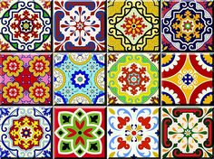 Amazon.com: Tile Stickers 24 PC Set Authentic Traditional Talavera Tiles Stickersl Bathroom & Kitchen Tile Decals Easy to Apply Just Peel & Stick Home Decor 6x6 Inch (Mexican Spanish 24pc C55): Home & Kitchen