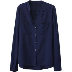 Womens Plain V Neck Single-breasted Long Sleeve Blouse Navy Blue ($16) ❤ liked on Polyvore featuring tops, blouses, shirts, blusas, shirt blouse, long sleeve blouse, navy blue tops, blue long sleeve shirt and navy shirt