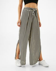 Palazzo sateen trousers with belt. Discover this and many more items in Bershka with new products every week