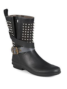Burberry Holloway Studded Rubber Rain Boots