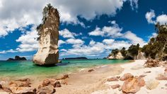 Hot Water Beach, Coromandel Peninsula, New Zealand Not far from Auckland is the truly unique Hot Water Beach. The presence of hot springs along the coast means that hot water bubbles up through the sands, allowing visitors to dig their own personal, steaming spa pool to relax in… at least until the tide comes in. Arrive about an hour before low tide, and don't forget to bring a spade!