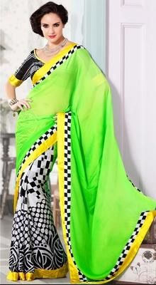 Stand out from rest with this fancy black, lime green, white chiffon, cotton, faux georgette & satin half and half saree. The brilliant attire creates a dramatic canvas with amazing checkered decorative printed & polka dotted work. #PrintedSaree #StunningPrintedSarees
