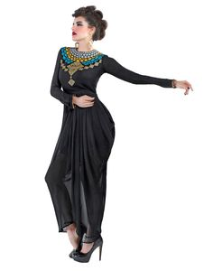 Inddus Exclusive Women Stunning Black Georgette Embroidered Kurti with Sizes - S, M, L, XL.