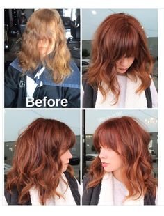 Curtain bangs and trim. Formula is vibrance copper. Apply zone leave off zone Process just 15 minutes. She is a natural level Curtain bangs and trim. Formula is vibrance copper. Apply zone leave off zone Process just 15 minutes. She is a natural level Hairstyles With Bangs, Pretty Hairstyles, Wedding Hairstyles, Men's Hairstyle, Formal Hairstyles, Latest Hairstyles, Red Hair Color, Color Red, Level 6 Hair Color