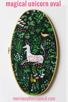 """make believe"" Unicorn Fairytale - Vintage Oval Embroidery Hoop. – The Merriweather Council"