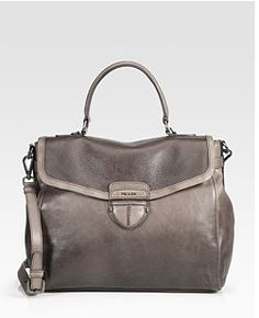 "Prada Buttersoft Grey Leather Satchel ...  so luxurious! On my ""want"" list!"