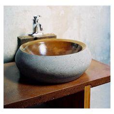 Round Cast Stone Vessel Sink by J. Aaron on HomePortfolio