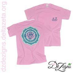 Pink Delta Zeta sorority rose pocket t! Now available at DZ DeZigns!
