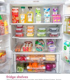Kitchen Organization Pantry, Refrigerator Organization, Home Organisation, Recipe Organization, Kitchen Pantry, Organization Hacks, Organized Kitchen, Kitchen Shelves, Kitchen Layout
