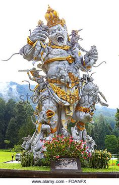 Kumbakarna Laga statue in Eka Karya Botanical Garden, Bedugul, Bali, Indonesia. - Stock Image