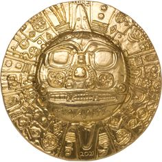 The gold sun disc was one of the most sacred and valuable artifacts of the Inca. Legend states that it came from the sky and was recovered from Lake Titicaca. It was three feet wide, made of rare translucent gold and was said to have magical powers. The Inca believed it could heal any injury, stop time, and prevent or even start earthquakes. Inka, Lake Titicaca, Gold Gilding, 1 Oz, Coat Of Arms, Silver Coins, Things To Come, This Or That Questions, Pure Products