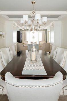 Esszimmer Ideen Möbel weiße Polsterstühle