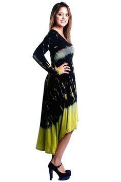 Tie Dye Long Sleeve High-Low Dress