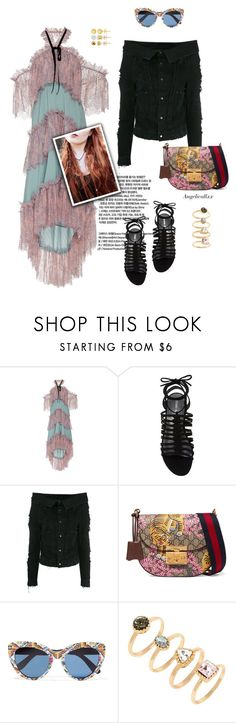 """""""Because you know I'm all about that bass"""" by angelicallxx ❤ liked on Polyvore featuring Philosophy di Lorenzo Serafini, Stuart Weitzman, Unravel, Gucci, Dolce&Gabbana, Forever 21, Bridge Jewelry and offshoulderdress"""