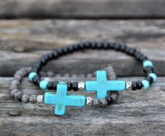 Summer 2018 Turquoise Cross Black Stone Beaded Bracelet by BeadRustic Rustic Jewelry, Handmade Beaded Jewelry, Bracelets For Men, Jewelry Bracelets, Cross Bracelets, Diamond Bracelets, Pandora Bracelets, Diamond Jewelry, Bracelet Turquoise