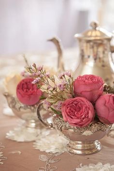 Our vintage china and silver are also great for mixed vessel centerpieces