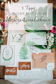 Mustertext Einladungskarten für Hochzeitspapeterie - welcher Text muss in eine Einladung? Papeterie im Greenery Stil - grüne Karten